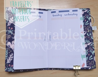 Personal size TN WO4P EC sized boxes inserts printable - Travelers' notebook inserts instant download - Weekly on 4 pages personal