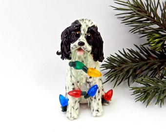 Springer Spaniel English Black Porcelain Christmas Ornament Figurine Lights