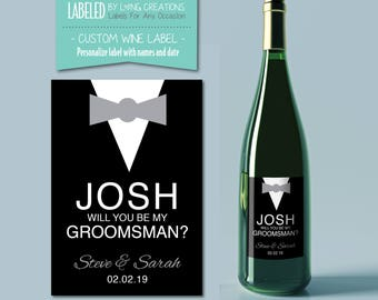 Groomsmen / best man proposal -  will you be my best man / groomsmen label - Custom liquor / wine label  - custom groomsmen / best man gift
