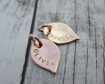 Personalized Gold Filled Leaf Charm - SMALL Leaf Charm in Rose or Yellow GF - EWD Extras and Add Ons