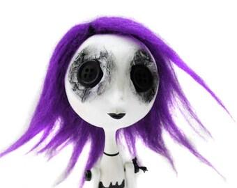 Custom  Art Doll - Goth Art Doll - Buttom Eyed Doll - Tim Burton Inspired