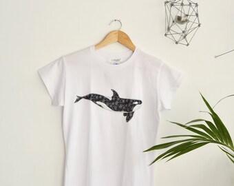 Orca, camiseta de ballenas,  Ragalo para mujeres. Amantes del mar, oceano, buceo, playa y animales