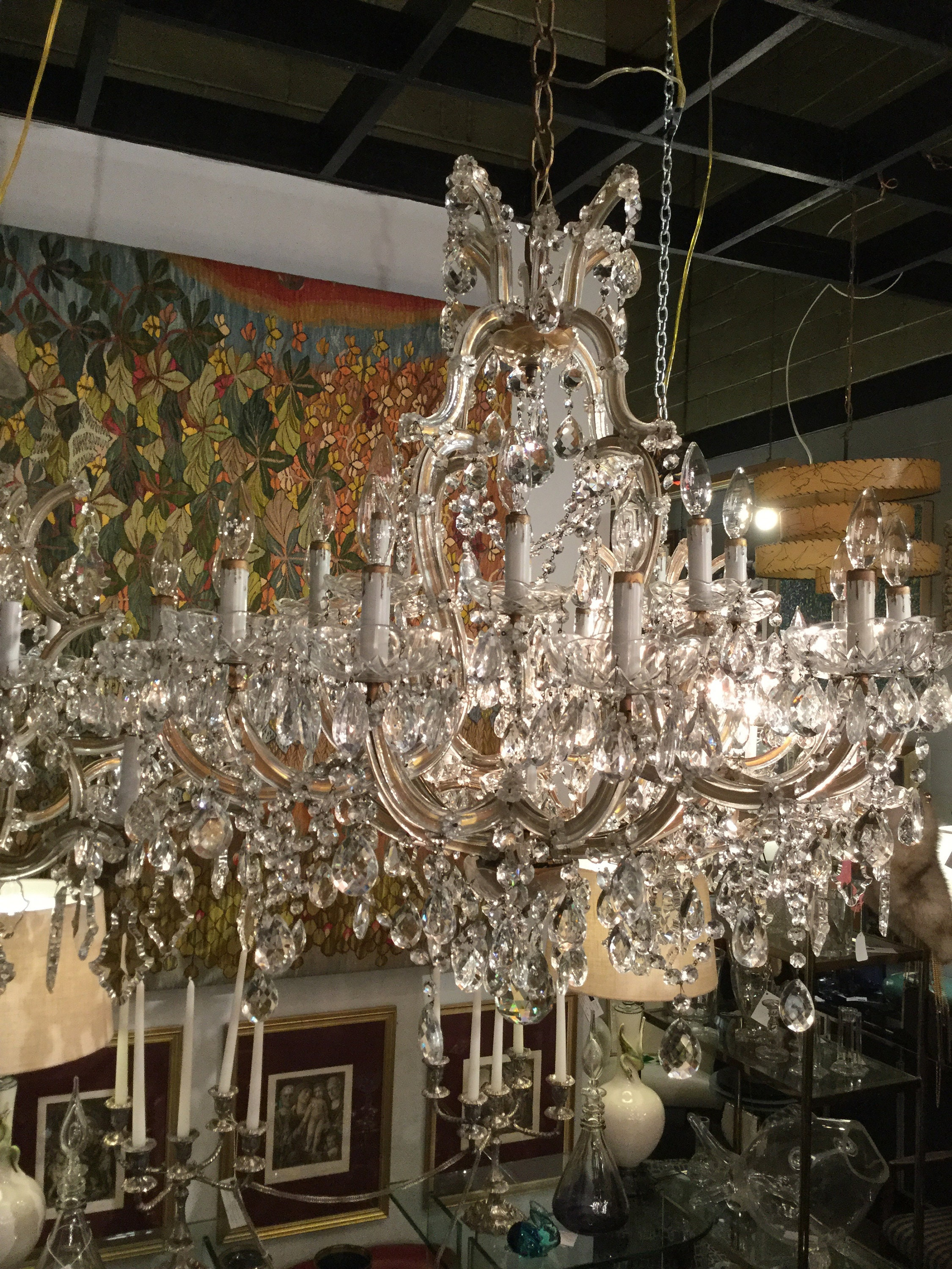Monumental 21 Lights Maria Therese Italian Hand Cut Crystal Chandelier With Bobeche