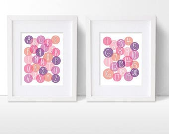 Pink Alphabet and Numbers Art Print Set, Pink and Purple ABC and Counting Artwork, Girls Modern Nursery Decor