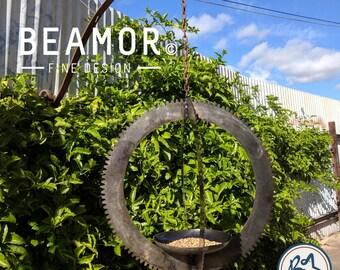 Bird Feeder metal art garden art upcycled