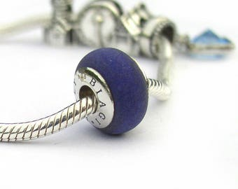 Rainbow Stone Blue Granite Sterling Silver Large Hole Bead