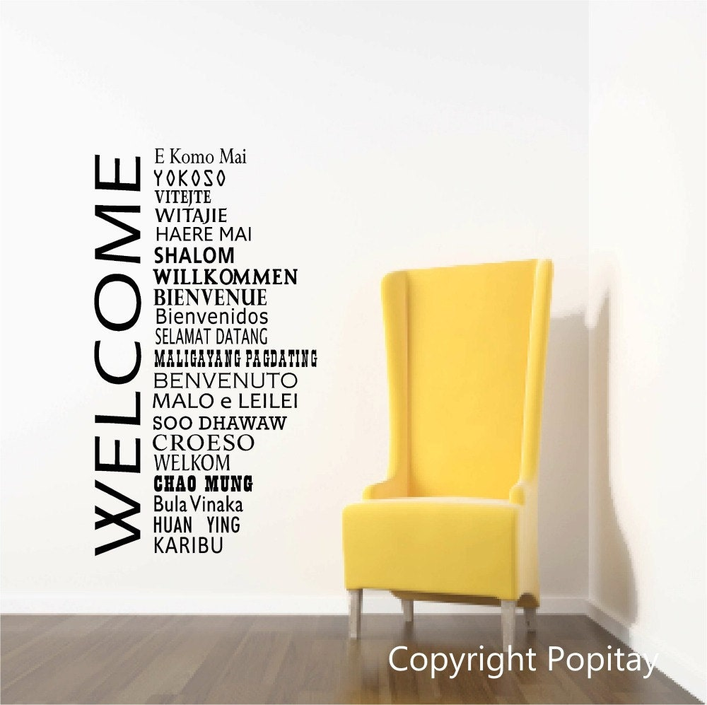 Welcome Wall Decals, International welcome words, Welcome Decor, Office Reception decor, School Welcome, Global Greetings, welcome sign