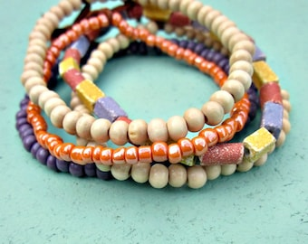 Beaded Bracelet Assortment, Set of Five in Summer Pastels: Catalina