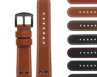DASSARI Pilot Quick Release Leather Watch Band Strap w/ Black Rivets 18mm 20mm 22mm 24mm