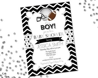 Football Baby Shower Invitation - Football Shower - Chevron Stripes - Silver and Black - Printable