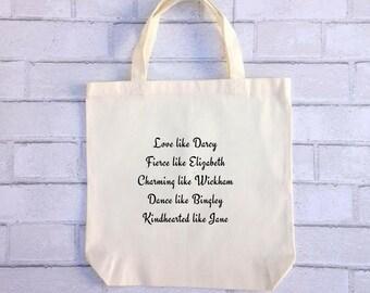 Pride and Prejudice Tote | Jane Austen Bennet Mr. Darcy Bingley Canvas Bag Purse Book Inspirational Quote | Elizabeth Bennet Christmas Gift