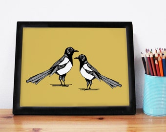 Magpie Print - A3-magpie illustration -bird art - magpie art - home decor - magpie - wedding gift - anniversary gift - good luck gift