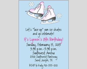 Ice Skate Birthday Invitations Printable Digital File