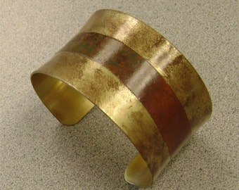 Brass Concave Cuff Bracelet with wavy Patinaed Copper Strip