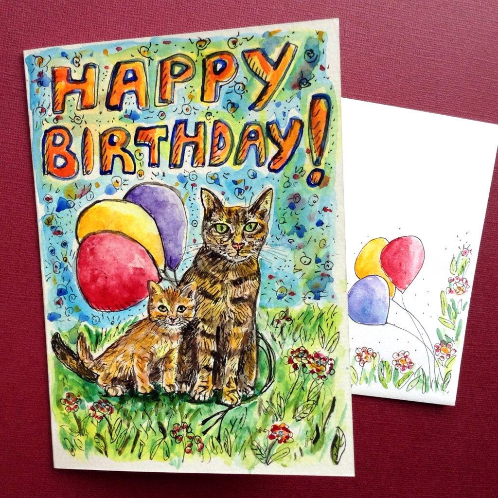 Mom Birthday Card Cat Birthday Card Hand Painted Watercolor