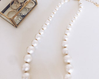 white cotton pearl necklace.Wedding Jewelry.Bridal.Bridesmaid gift.