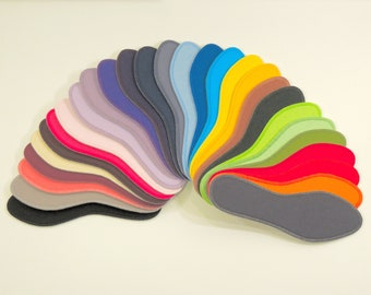 Solid Colours - Washable Shoe Liners - 100% Absorbent Cotton Face - Stiff Poly Backing - Reinforced Stitching - Thin