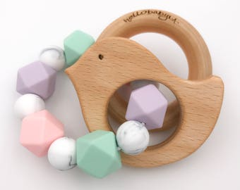 Silicone Teether with Wooden Ring Rattles | Double Ring Teether | Baby Shower Gift | Teething Baby | Pink Mint Marble and Lavender