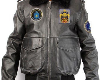 Leather bomber jacket patches black