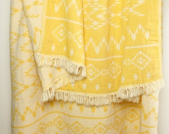 Yellow Throw Blanket/ Bohemian Picnic Blanket/ Navajo Sofa Throw/ Yellow Aztec Beach Blanket/ 100% Organic Cotton Coverlet/ Tribal Blanket