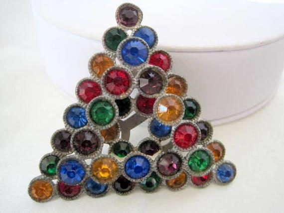 Art Deco Dress Clip, Rainbow Rhinestone, Pot Metal, Layered Pin