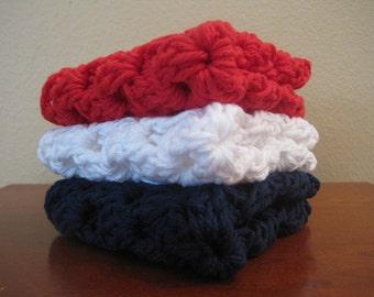 Set of Three Granny Square Crocheted Dishcloths