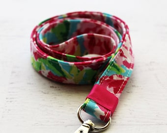 Floral fabric lanyard - 3/4 inch wide lanyard - cute key lanyard - ID holder - pink key lanyard - teachers lanyard - Work ID lanyard