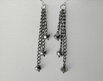 Handmade Earrings, Beaded Earrings, Dangle Earrings, Dangle Beaded Earrings, Layered Earrings, Sparkle Earrings, Holiday Earrings, Handmade