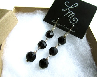 Black Tourmaline Three Piece Faceted Drop Sterling Silver Earrings by LM-inspired