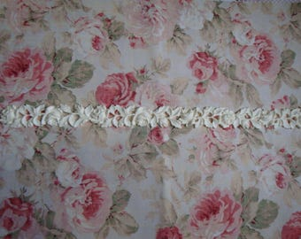 "Antique Carved Roses & Leaves Moulding Trim 30"" to 34 1/4"" Length Furniture Applique Architectural Onlay"