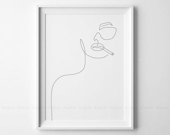Single Line Text Art : Face outline printable one line drawing print feminist