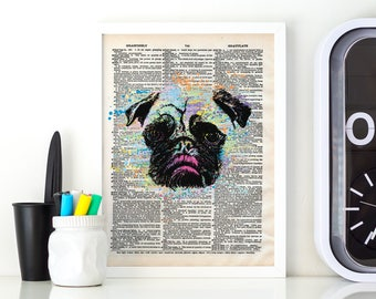 Pug Digital Print, Printable Art, Digital Download, Dictionary Art, Pop Art, Modern Art, Downloadable Art, Minimalist, Printable Wall Art