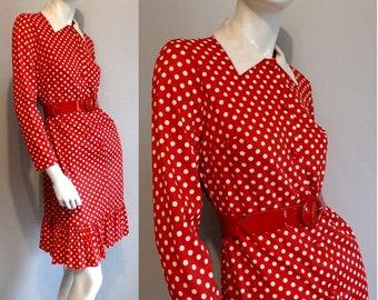 FINAL SALE --- Vintage 1970s Red Polka Dot Ruffle Hem Dress