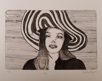 Lana Del Rey Intaglio Print