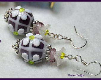 Purple and White Earrings,Lampwork and Sterling Silver Dangle Earrings,Floral Earrings,Unique Earrings,OOAK - DAISY