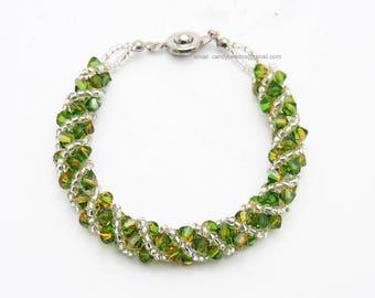 SALE; Size 6 1/2 to 7 inches; crystal bracelet; Swarovski bracelet; Glass bracelet; Fern Green Topaz Blend Twisty Swarovski Crystal Bracelet