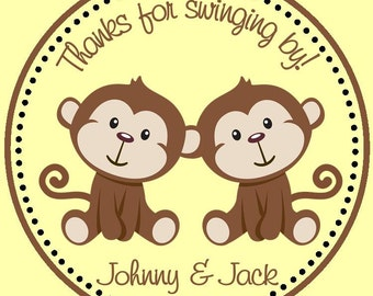 Monkey Birthday Favors ( Set of 12 ) / Twin Monkey Party Favors / Monkey Favors for Twins / Twin Monkeys Birthday Favors
