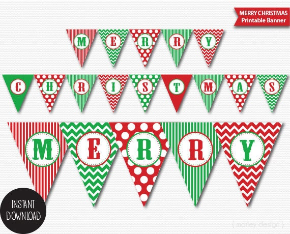 christmas banner printable classic colors holiday banner merry. Black Bedroom Furniture Sets. Home Design Ideas