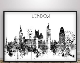 London Skyline Black and White  Poster, London Skyline, London Cityscape England, Gift Idea Home Decor, Wall Hanging, City Skyline