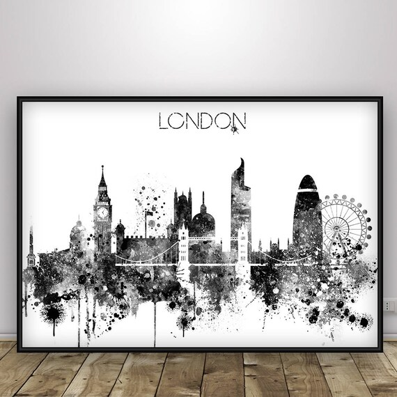 London skyline black and white poster london skyline london