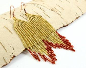 Native style earrings, Southwestern, Gift for wife Fringe beaded earrings Mustard earrings Gift for her Native inspired beaded earring
