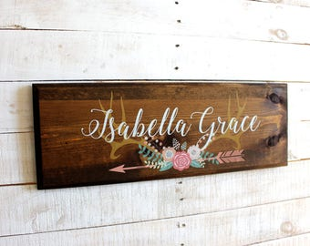 Antlers With Flowers Arrow Personalized Sign | Girls Name Personalized Rustic Wood Sign | Custom Sign | Rustic Nursery or Girls Room Decor