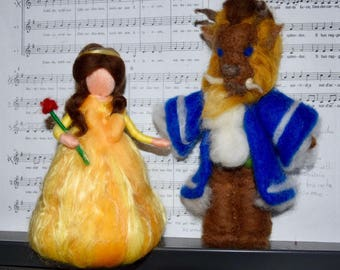 The Beauty and the Beast in the wool fairy tale and carded in the Waldorf style. To order.