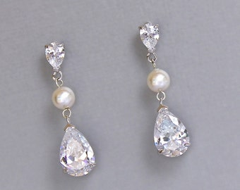 Crystal Drop Earrings, Crystal & Pearl Bridal Earrings, Crystal Earrings, Crystal Drop Bridesmaids Earrings, DENISE