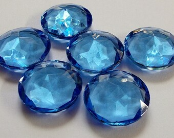 Medium Sapphire Blue 20mm Vintage (6) Double Facet Faceted Glass Jewels