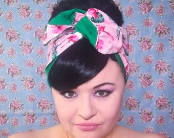 Double Sided Wired Hair Scarf - Pink Flamingo (with green)
