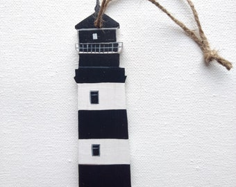 Lighthouse Ornament - Lighthouse Christmas Ornament - Black and White Lighthouse Ornament - Lighthouse Decor - Lighthouse Gift - Beach Gift