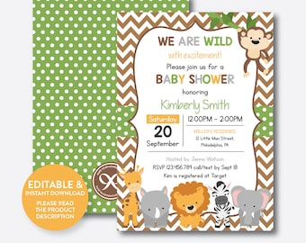 Instant Download, Editable Safari Baby Shower Invitation, Jungle Safari Invitation, Jungle Animal Baby Shower Invitation, Chevron (SBS.31)