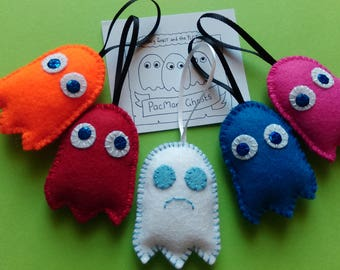 Set of 5 PacMan Ghost inspired hanging decorations