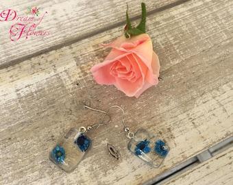 Earrings-Blue flowers-resin/earrings-Blue flower